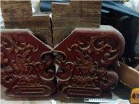 古工雕花板一对,民国时期东西,包老保真,上有龙凤卷草图案,金漆少许,基本脱落,榆木或槐木制作。悬挂,...