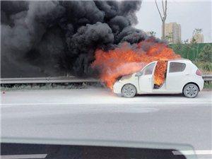 太可怕了,滨州东方红路口一辆私家车自燃