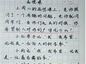 """小学生作文""""太有才"""",全文仅9个字,老师却直接给了满分"""
