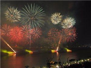 珠海市庆祝中华人民共和国成立70周年焰火晚会,拍摄k地点:珠海度假村酒店天海楼