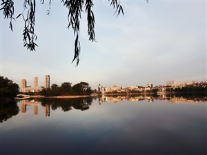 初冬清晨的月湖