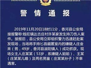 香河�l生一起持刀��人案致4死犯罪嫌疑人被���鲎カ@