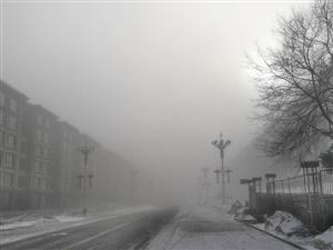 值班路上遇到的晨雾