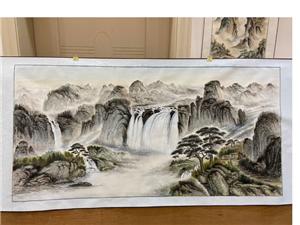 水墨山水画手绘装饰画,工艺:手绘画芯材质:宣纸图案:风景