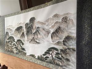 中式水墨山水国画装饰画书画尺寸:四尺~欢迎咨询