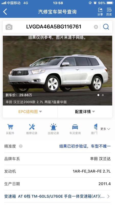 2011年丰田汉兰达,7座豪华版2.7