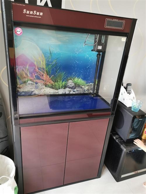 森森魚缸水族箱帶柜子,9成新,含柜子長寬高80*36*146cm,帶可變三色燈管和觸控溫度顯示屏,送...