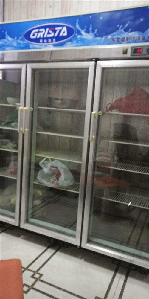 麻辣烫店用了一年多的星星三门冷藏柜,现在没用了,低价处理
