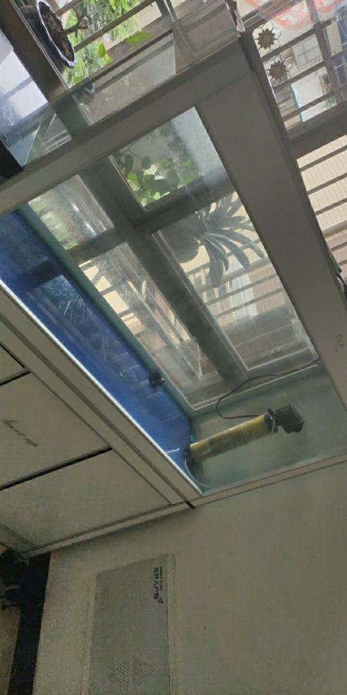 鱼缸,宽120cm,高140,银白色,上面鱼缸,下面鞋柜,9成新,带过滤器!