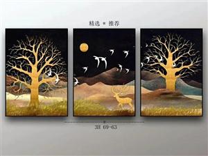 批发零售各种晶瓷三联画,玄关画,影视墙!有合作意向的vx18637652795