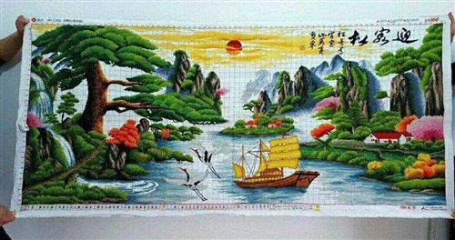 出售迎客松财运十字绣,纯手工绣制,一米二乘两米五的,色泽鲜艳,高端大气