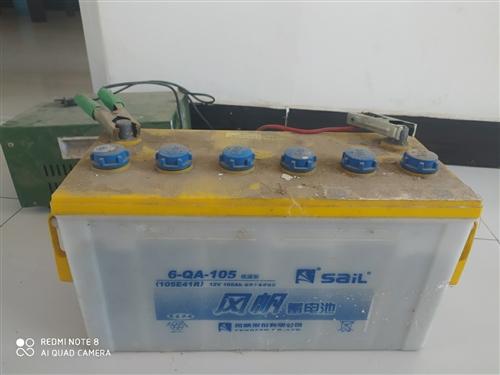 出售风帆蓄电瓶+航天50A充电器