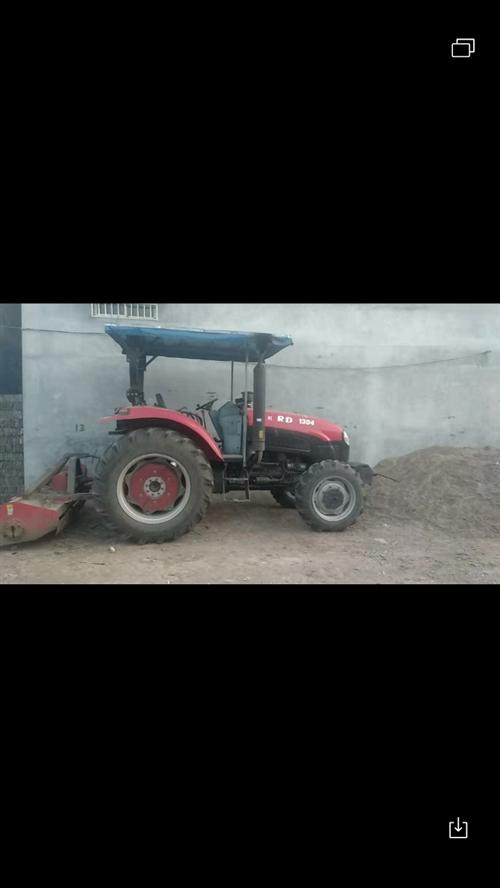 出售17年瑞得牌1304拖拉機 配套機具 秸稈機 旋耕機 四華犁 六缸東方紅機器 工作時間八百小時...
