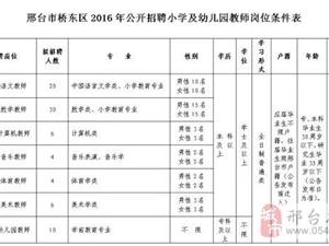 邢台市桥东区2016年公开招聘小学及幼儿园教师简章