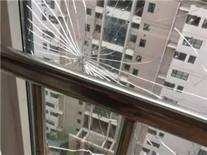 �A鑫小�^�I主玻璃窗被�珠打碎了