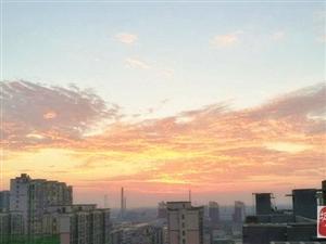 县城的早晨,彩霞满天