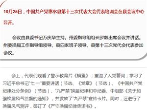 中��共�a�h惠水�h第十三次代表大��代表培���召�_