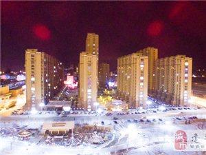 【视频】航拍建平县中央公园大雪后的迷人夜景-墨斗鱼摄