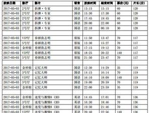 陇南青影数字影院2017年5月3日影讯