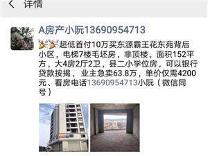 超低首付10万买东源霸王花东苑背后小区单价仅需4200元