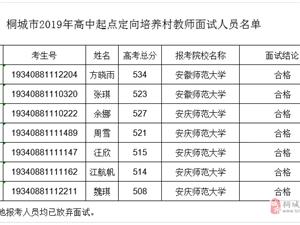 桐城2019年定向培养乡村教师招生(高中起点本科层次)面试结果公示