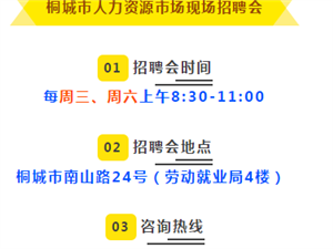 6月19日,桐城有场大型室内招聘会!众多岗位机会等你来