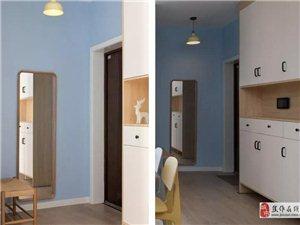 100�O简约北欧风格装修案例,马卡龙清新蓝横厅设计超赞!