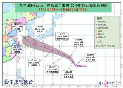 """今年第8号台风""""范斯高""""生成〖正往我国东部沿海方向移动"""