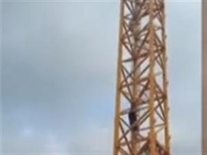危�U!南康�R��10名工人爬上塔吊,�P言不�l工�Y跳下自��……