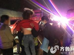 博兴一小型轿车与重型半挂车发生交通事故博兴交警紧急救助伤者