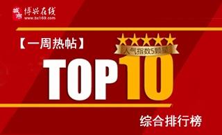 【博�d在�一周�崽�】TOP10�C合排行榜(2019年第4周)
