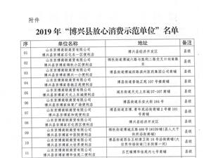 """2019年博兴县""""放心消费示范单位""""公告"""