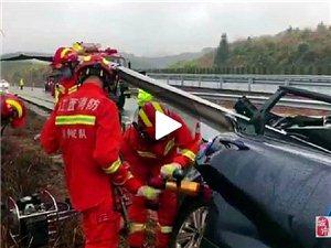 寻乌一小轿车失控,撞上高速护栏穿车而过,一男子被困,消防及时解救,为他们点赞!
