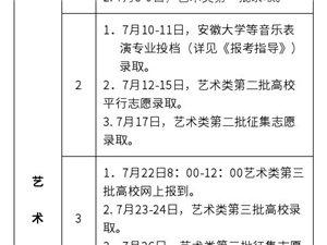 2019年安徽省普通高校招生录取工作日程安排表出炉