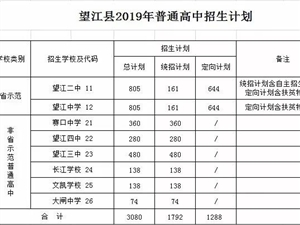 望江县2019年各高中录取分数线