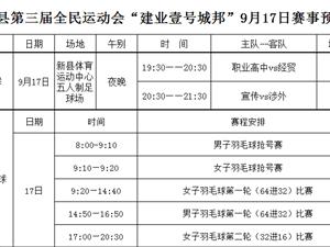 """新县第三届全民运动会""""建业壹号城邦""""9月17日赛事预告"""