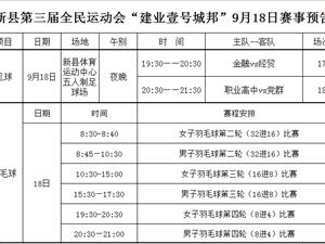 """新县第三届全民运动会""""建业壹号城邦""""9月18日赛事预告"""