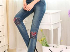 2016春裝新款縫補牛仔褲女刺繡高腰彈力顯瘦長褲