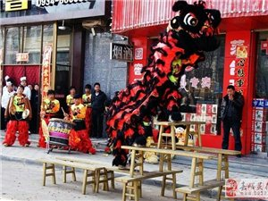 蘭州舞龍舞獅開業慶典演出梅花樁舞獅