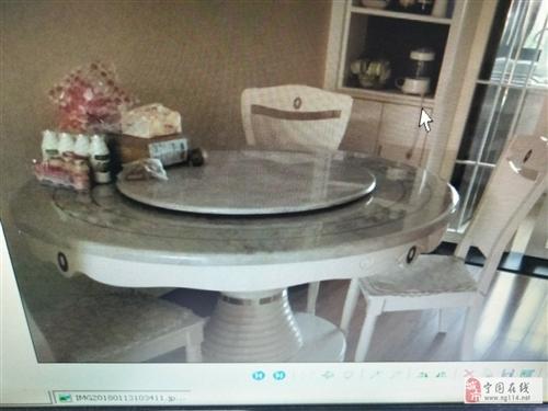 九成新双虎大理石餐桌出售