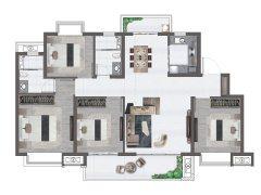 114平米户型, 4室2厅2卫1厨, 建筑面原本有一千多金仙积约114.00平米
