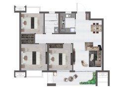 89平米户型, 3室2厅2卫1厨, 建筑面积约89.00平米