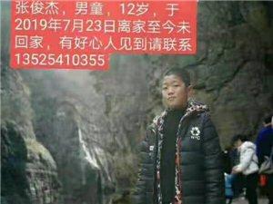寻人启事:   张俊杰,男,12岁,身高一米四五左右