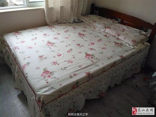 实木床1.5m*2m+席梦思床垫(10cm)