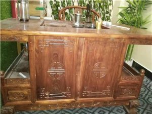 郑州港区出售9成新榆木茶桌茶椅一套