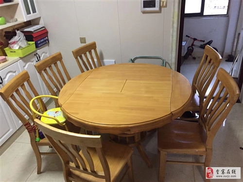 低价出售刚买3月的多功能实木桌子和6张椅子