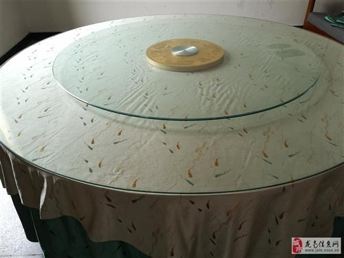 2米圓桌玻璃臺面+1.4米玻璃轉臺