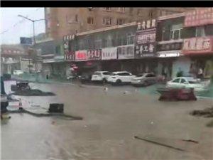 建平�h下雨商�被淹