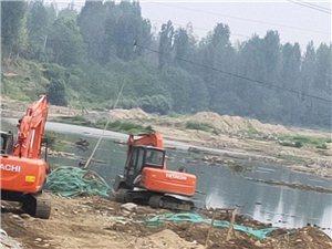 八里修建河坝,非法采砂