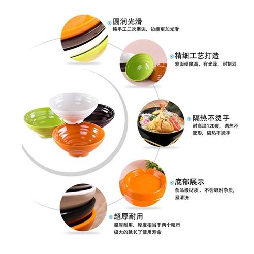 密胺材质的,绿色黄色,白色都有,7寸和7.5寸的碗,买的太多了用不上,还有两三百个没开封的,有需要的...
